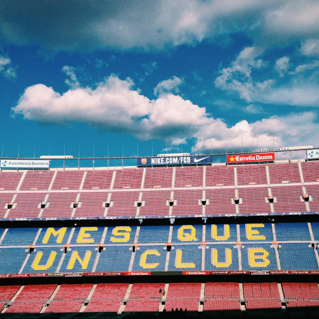 """""""Stadium of FC Barcelona with Sky clouded"""" stock image"""