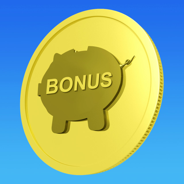 """Bonus Coin Means Monetary Reward Or Benefit"" stock image"