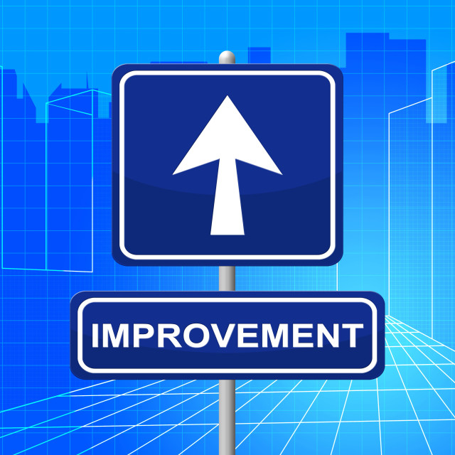 """Improvement Sign Represents Upward Signboard And Pointing"" stock image"