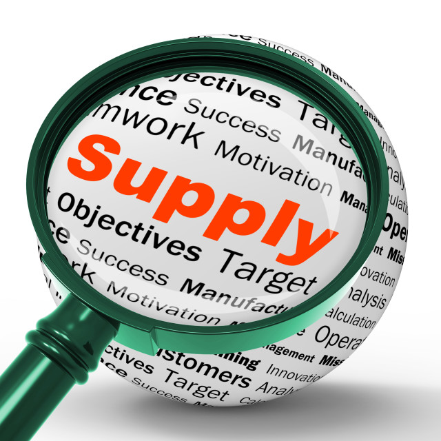"""""""Supply Magnifier Definition Shows Goods Provision Or Product Demand"""" stock image"""