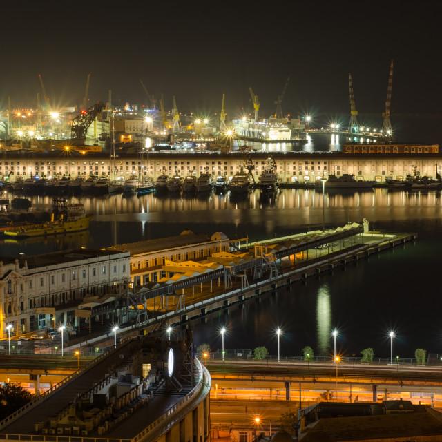 """Harbor Of Genoa At Night"" stock image"
