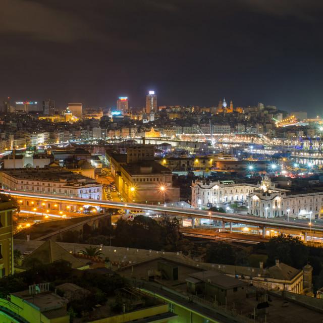 """Genoa At Night"" stock image"