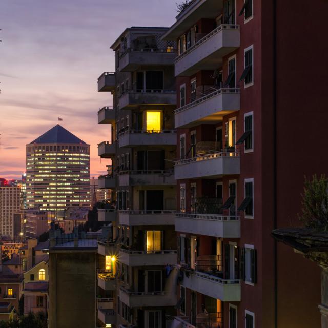 """Evening Light In Urban Genoa"" stock image"