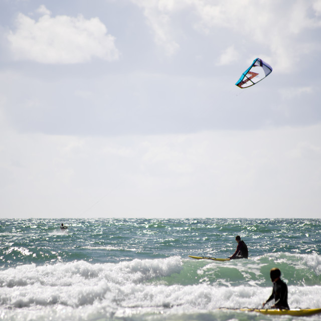 """""""lifeguards watching a kite surfer"""" stock image"""