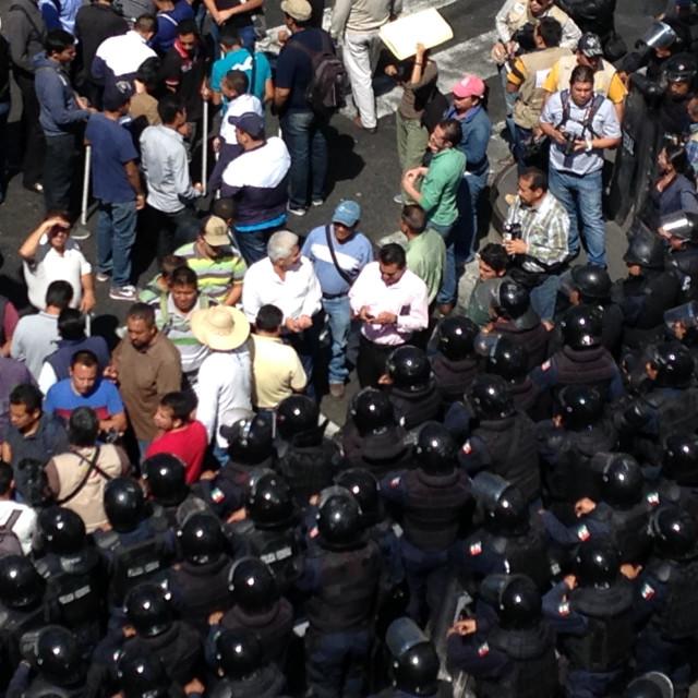"""""""People vs police in morelia, mx"""" stock image"""
