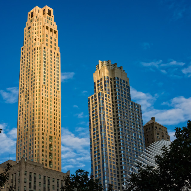 """Skyscrapers At Dusk"" stock image"