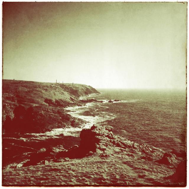 """Vintage craggy cliffs"" stock image"