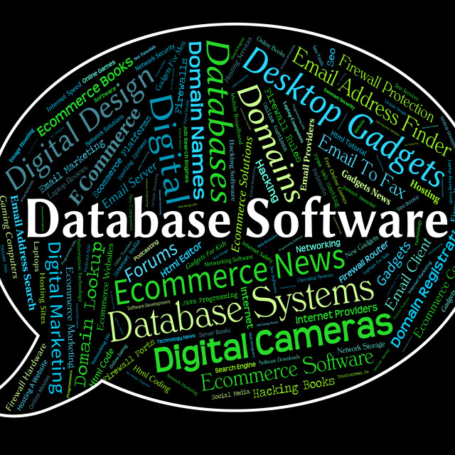"""""""Database Software Means Text Computing And Freeware"""" stock image"""