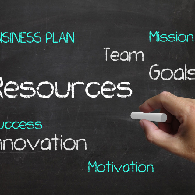 """""""Resources on Chalkboard Means Human Resource and Collateral Holdings"""" stock image"""