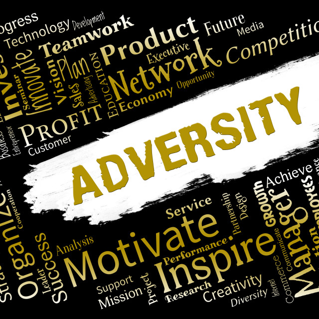 """""""Adversity Words Represents Ill Luck And Adverse"""" stock image"""