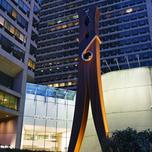 """Clothespin sculpture, Philadelphia, Pennsylvania, USA,"" stock image"