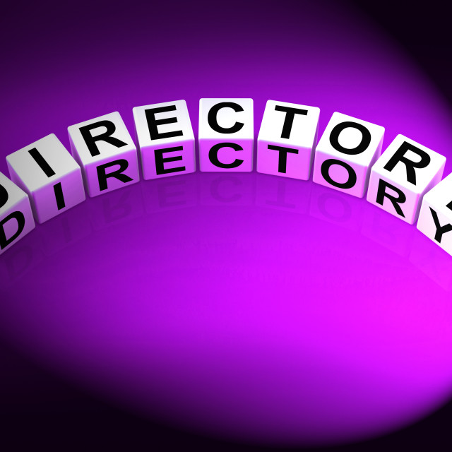 """""""Directory Dice Show Data Organized in Order"""" stock image"""