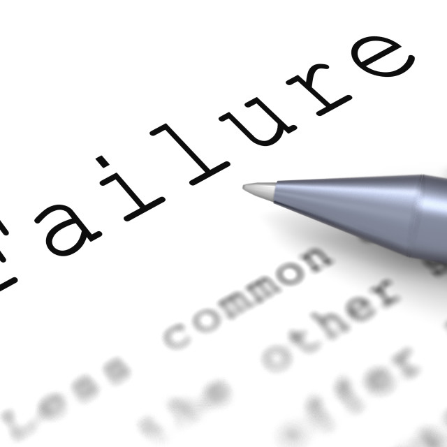 """""""Failure Word Shows Inept Unsuccessful Or Lacking"""" stock image"""