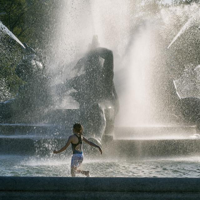 """Swann Fountain in Logan's Circle, Philadelphia, Pennsylvania"" stock image"