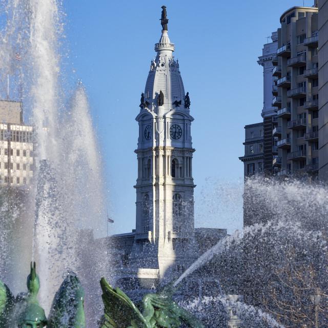 """""""Swann Fountain in Logan's Circle, Philadelphia, Pennsylvania, USA"""" stock image"""