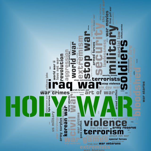 """Holy War Shows Military Action And Battle"" stock image"