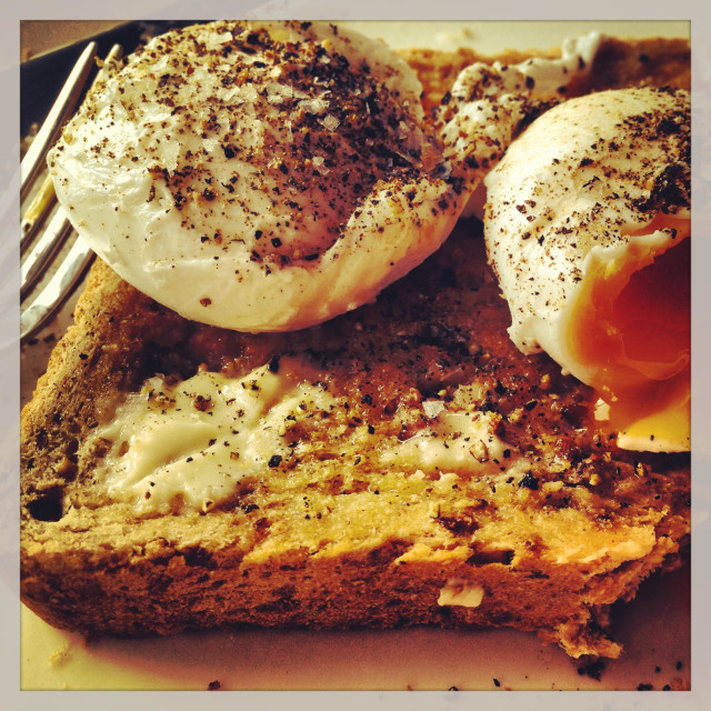 """""""Poached Eggs on toast"""" stock image"""