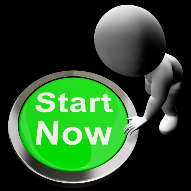 """""""Start Now Button Means To Commence Immediately"""" stock image"""