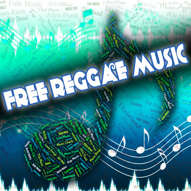 """Free Reggae Music Represents No Cost And Complimentary"" stock image"