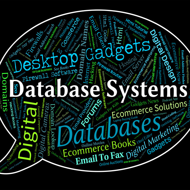 """""""Database Systems Shows Digital Word And Pc"""" stock image"""