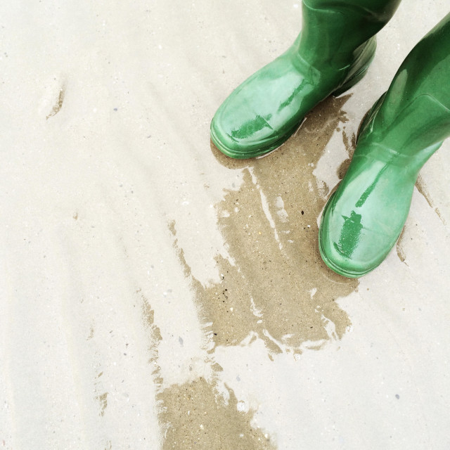 """""""Green wellies on the beach"""" stock image"""