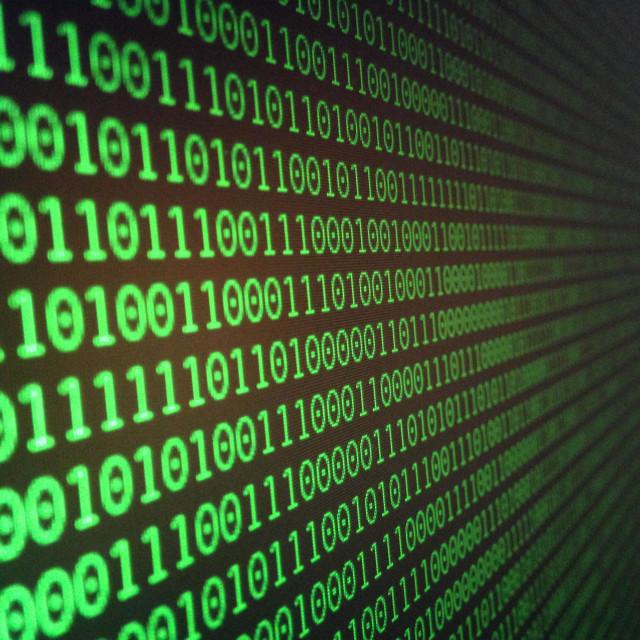 """Binary code on computer screen"" stock image"