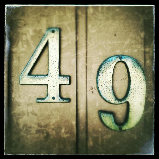 """49, Number Forty Nine, 49"" stock image"