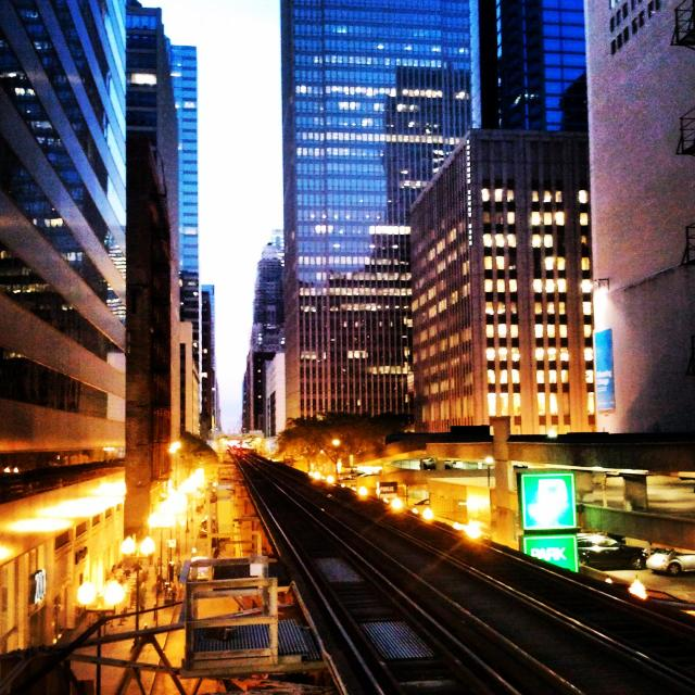 """""""Elevated train in downtown Chicago"""" stock image"""