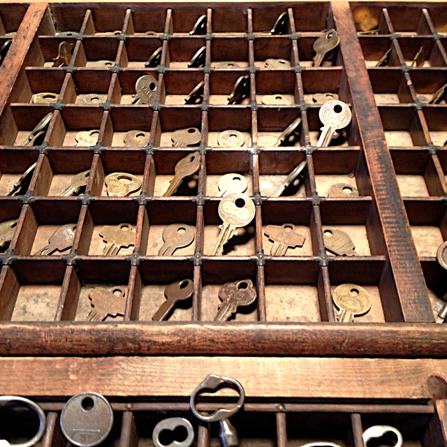 """""""Cubbies filled with old keys."""" stock image"""