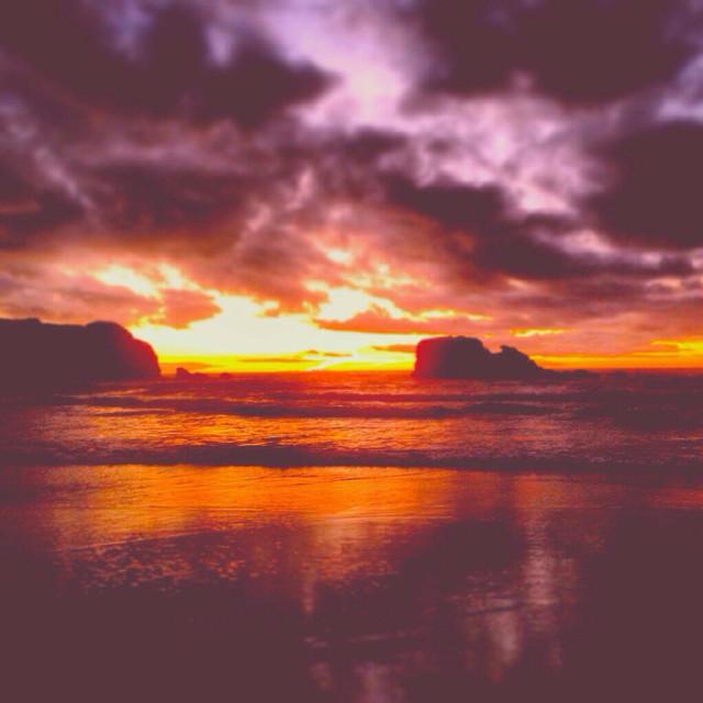 """Perranporth sunset"" stock image"