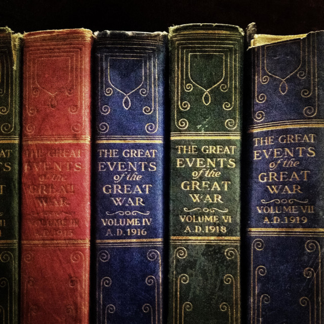 """""""Old classic books about war on a bookshelf"""" stock image"""