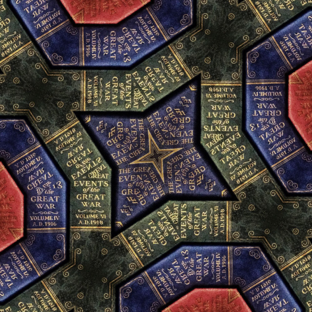 """""""A kaleidoscope pattern made from the spines of books about the Great War"""" stock image"""
