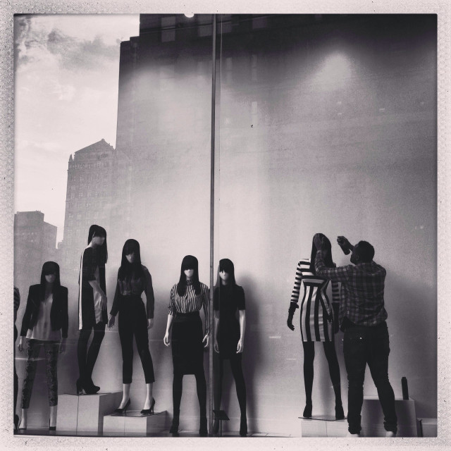 """A storefront with Mannequins in NYC"" stock image"