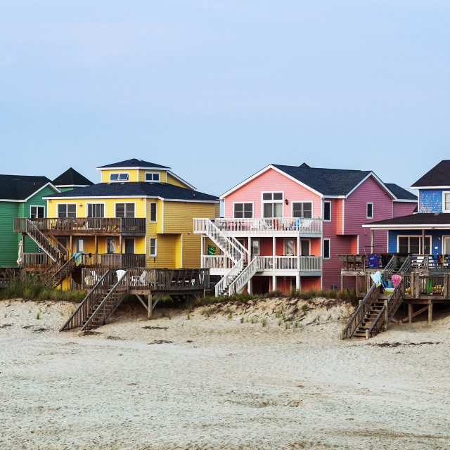 """Waterfront Beach houses, Nags Head, OBX, Outer Banks, North Carolina, USA"" stock image"