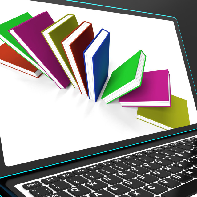 """""""Books On Laptop Shows Research"""" stock image"""