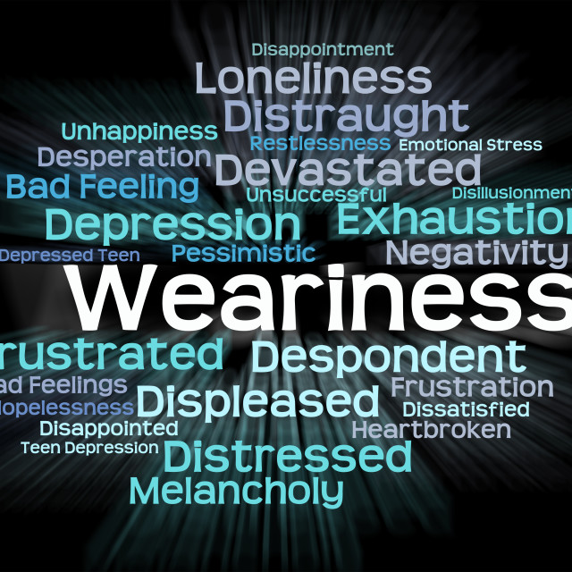 """""""Weariness Word Indicates Text Drowsy And Overtired"""" stock image"""