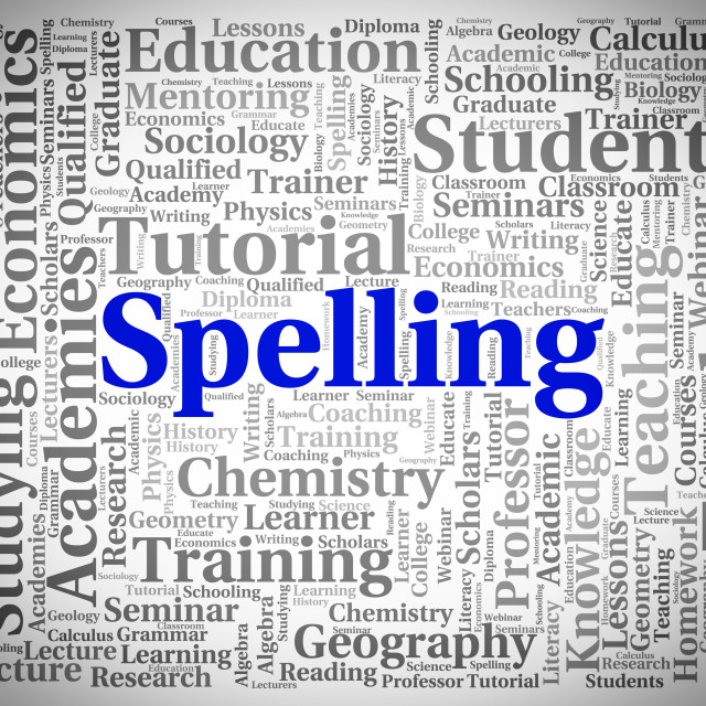 """Spelling Word Means Spellings Handwriting And Publish"" stock image"