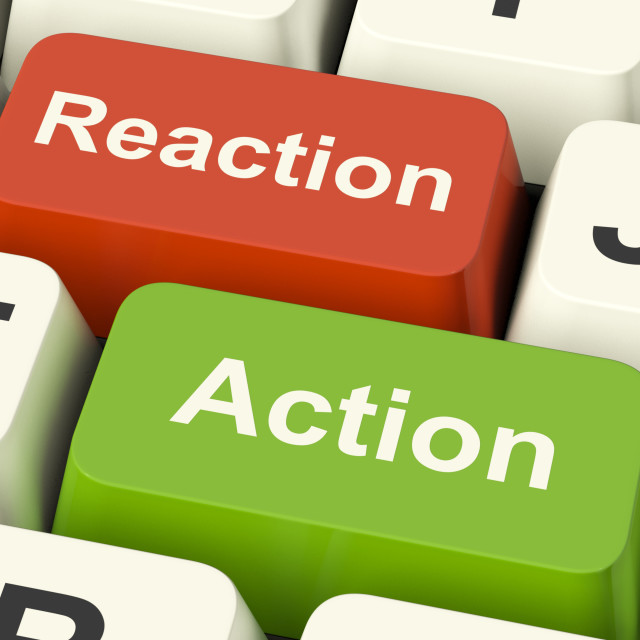 """""""Action Reaction Computer Keys Showing Control Feedback And Response"""" stock image"""