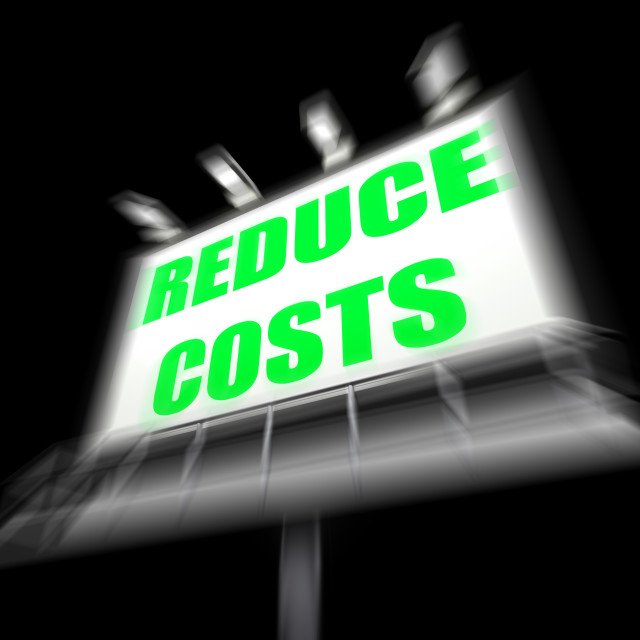 """Reduce Costs Sign Displays Lessen Prices and Charges"" stock image"