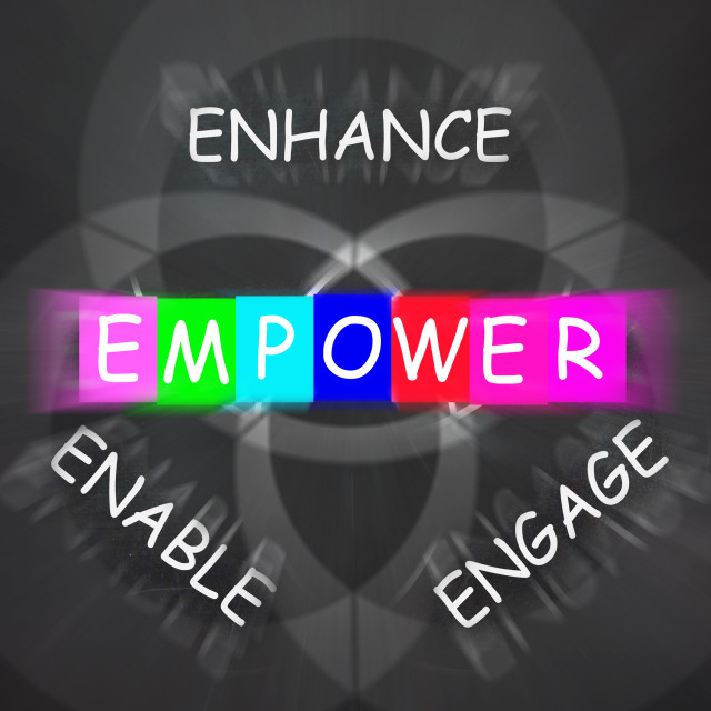 """""""Encouragement Words Displays Empower Enhance Engage and Enable"""" stock image"""