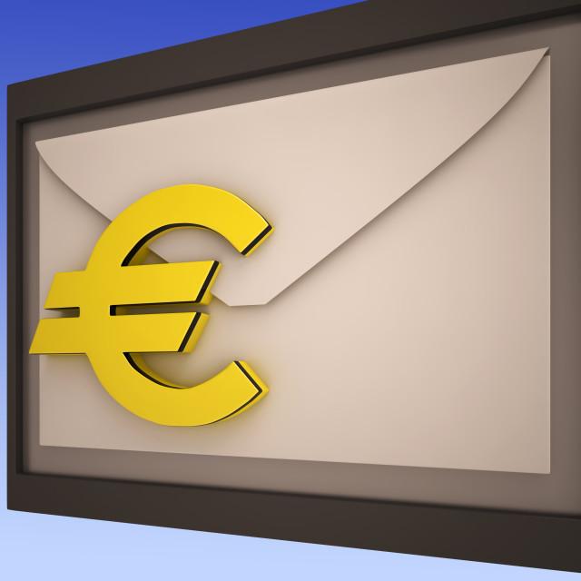 """""""Euro On Envelope Shows European Correspondence"""" stock image"""