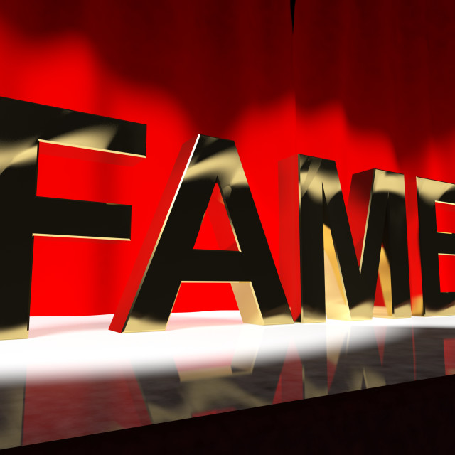 """Fame Word On Stage Meaning Celebrity Recognition And Being Famous"" stock image"