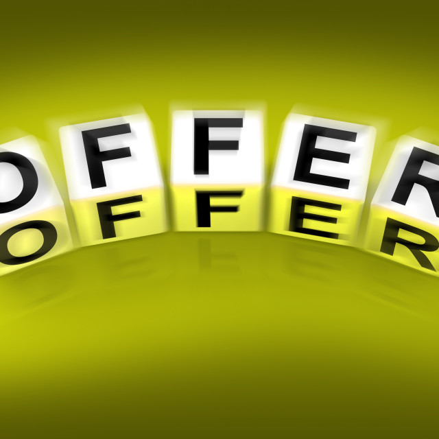 """""""Offer Blocks Displays Promote Propose and Submit"""" stock image"""