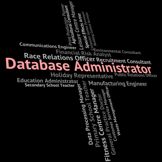 """""""Database Administrator Shows Employment Databases And Computing"""" stock image"""