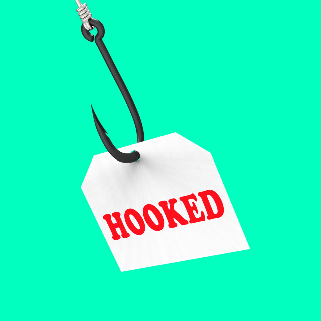 """Hooked On Hook Means Fishing Equipment Or Catch"" stock image"