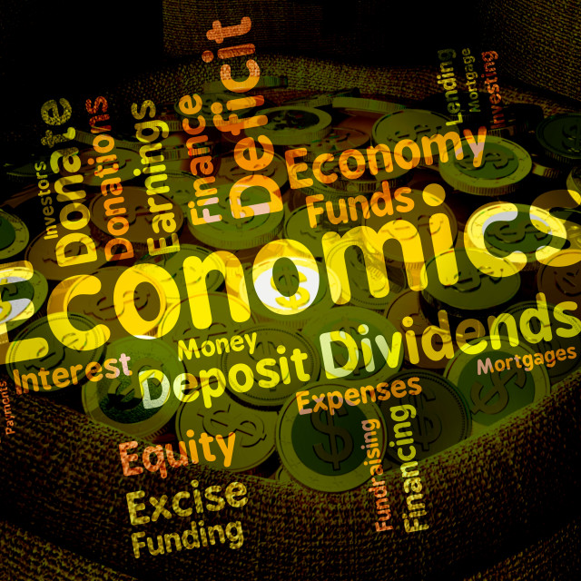 """Economics Word Shows Finance Fiscal And Economical"" stock image"