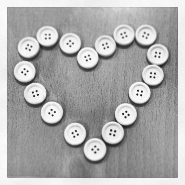 """""""Button heart black and white"""" stock image"""