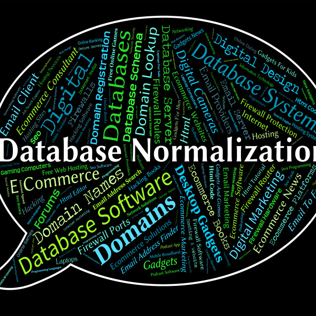 """""""Database Normalization Represents Computing Standardise And Normalise"""" stock image"""