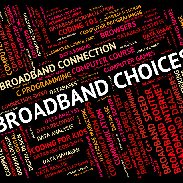 """Broadband Choices Means World Wide Web And Alternative"" stock image"