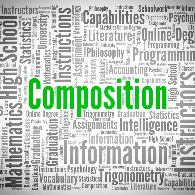 """Composition Word Shows Literary Work And Creation"" stock image"